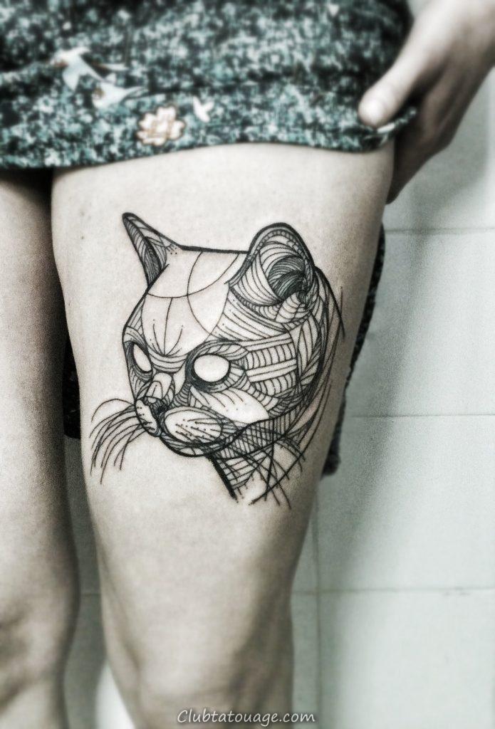 Attractive-Cat-Tattoo-Design-TB12003