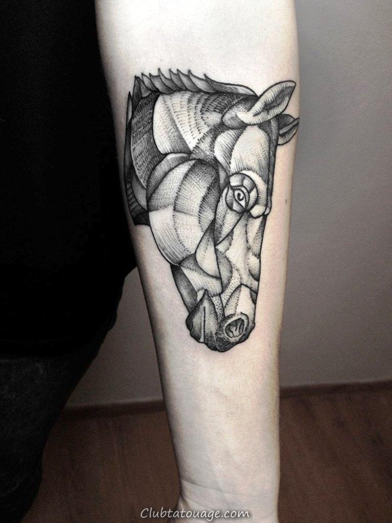 Noir géométrique-Cheval-Tattoo-