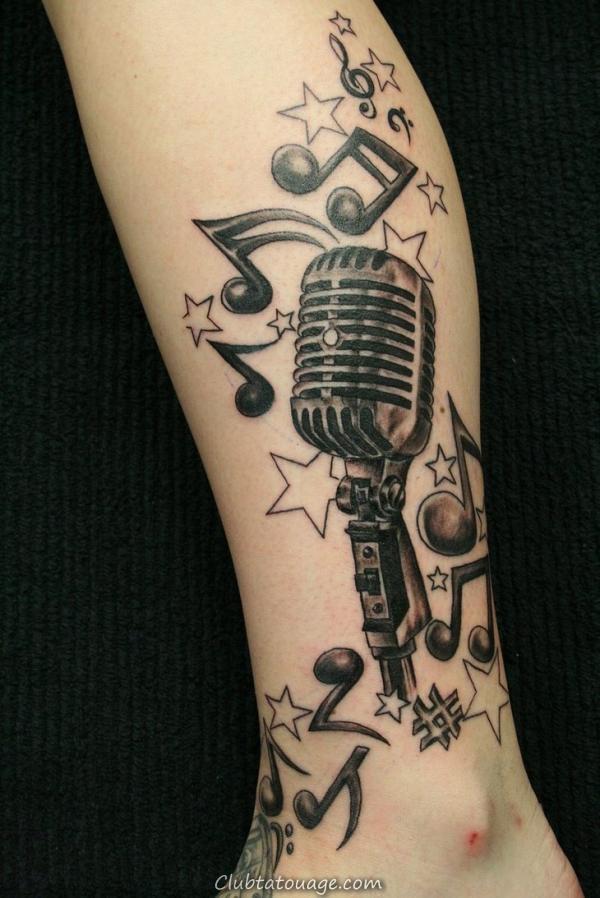notes de musique et étoiles Tattoos