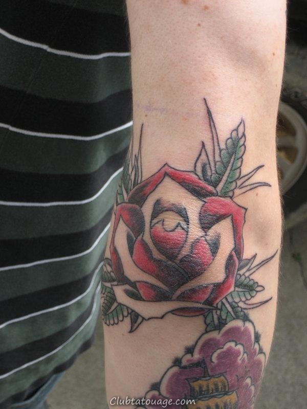 width Rose Elbow Tattoo