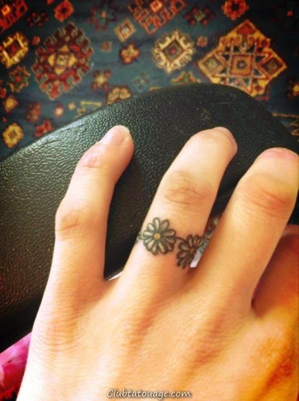 Finger petite Daisy Tatouages On Ring - idées de tatouage uniques