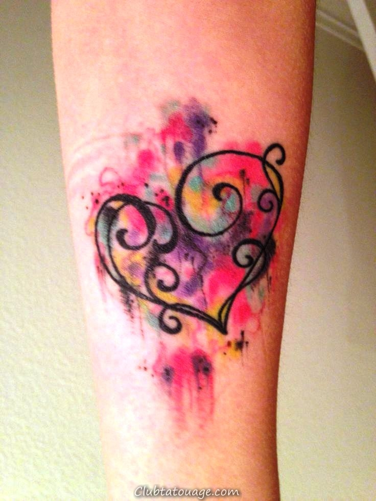 Aquarelle Tattoo Heart