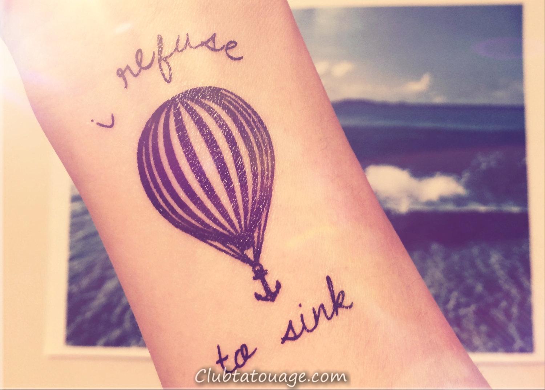 ballon à air conceptions de tatouage avec des énonciations