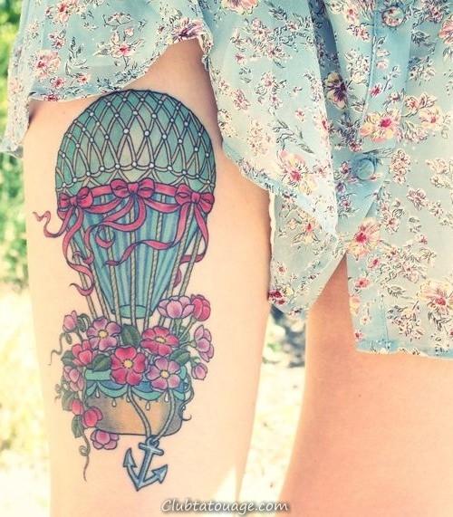 ballon tatouage d'air sur la jambe