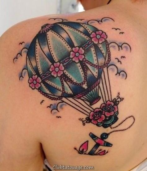 ballon à air conceptions de tatouage sur le dos