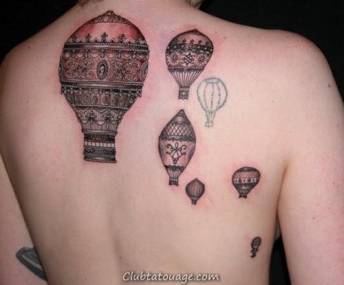 ballons à air de conception de tatouage sur le dos