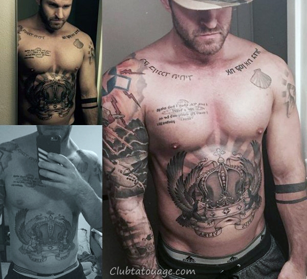 amazing-mâle-couronne-avec-angel-plumes-tattoo-sur-poitrine