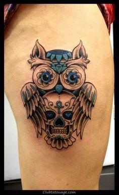 crâne de hibou bleu conception de tatouage