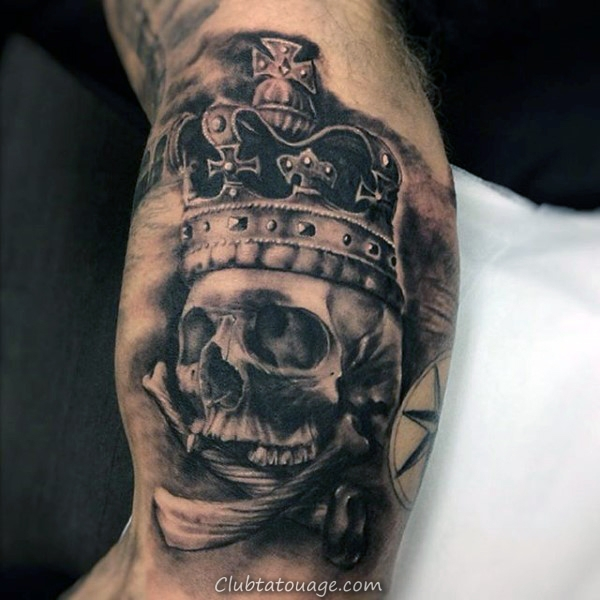 couronne-sur-scary-crâne-tatouage-avant-bras-men