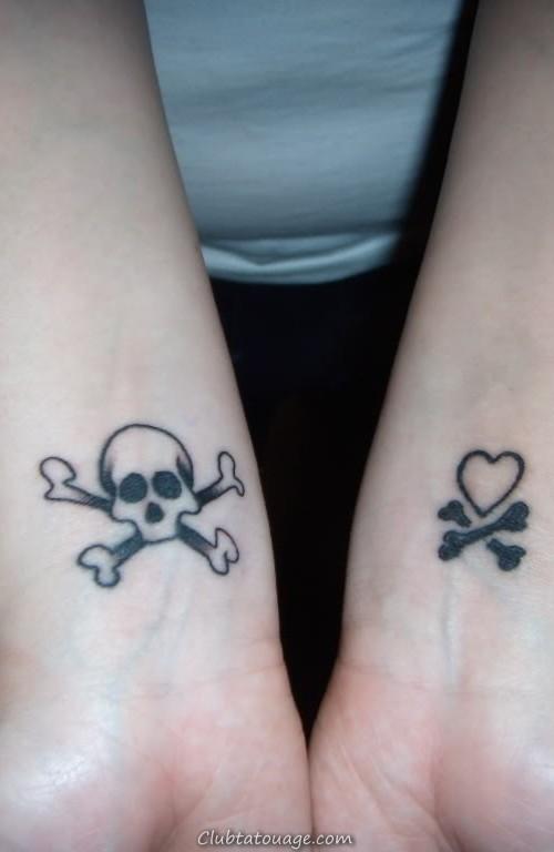tatouage du crâne sur le poignet