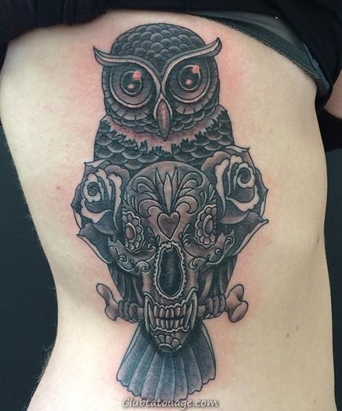 tatouage crâne avec hibou