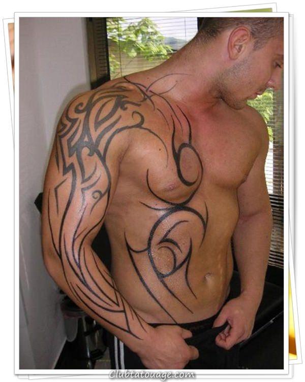 hommes Chest tribal Tattoo Designs