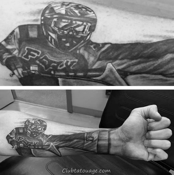 3d Mens Forearm motocross Tattoo design