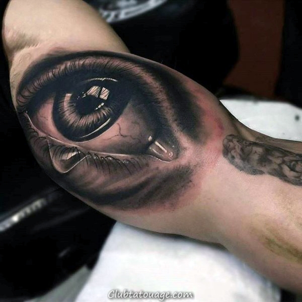 Réaliste Arm Inner Eye Avec Années Tattoo Sur Man 3d