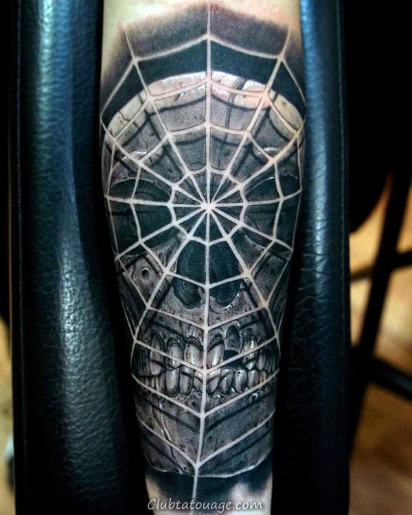 incroyable Elbow Hommes araignée Web Shaded Tattoos