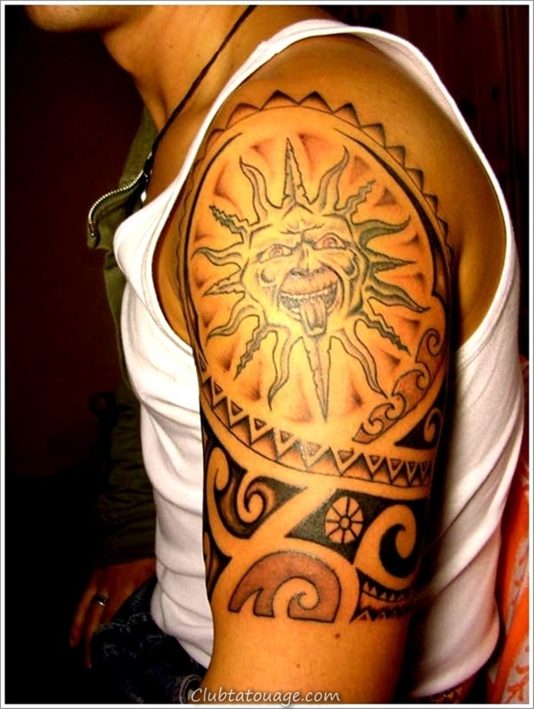 width 40 Attractive Sun Tattoo Design Ideas 34