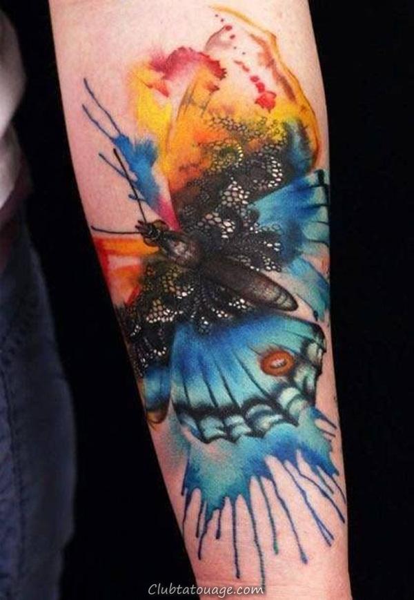oiseau aquarelle tatouage