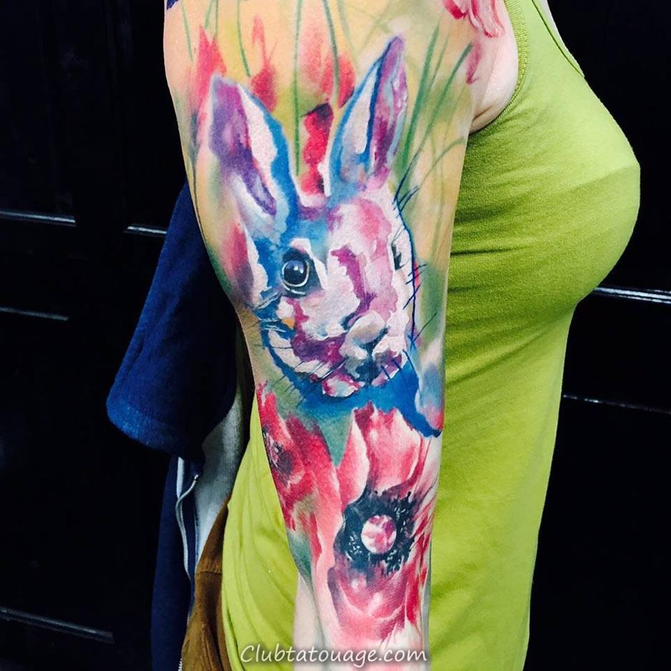 Bunny Tattoo Aquarelle