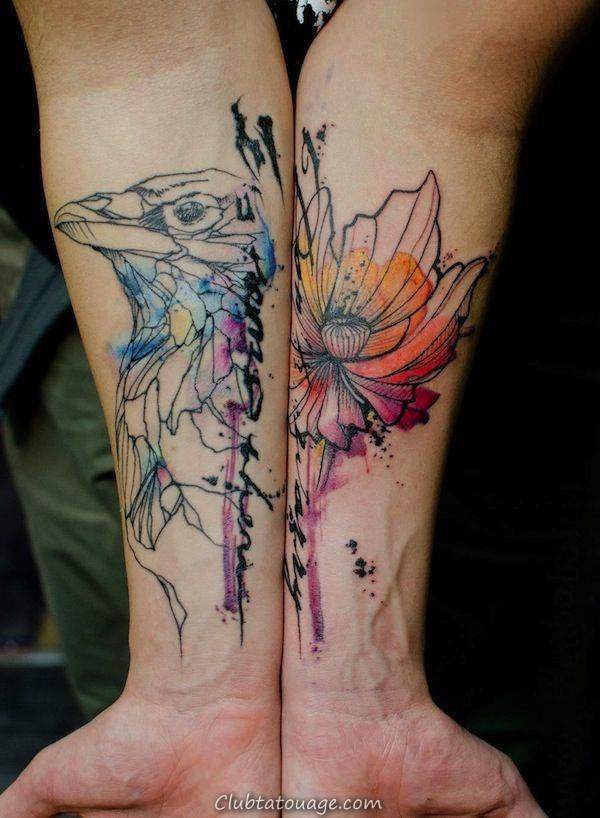 Crow et Fleur aquarelle tatouage