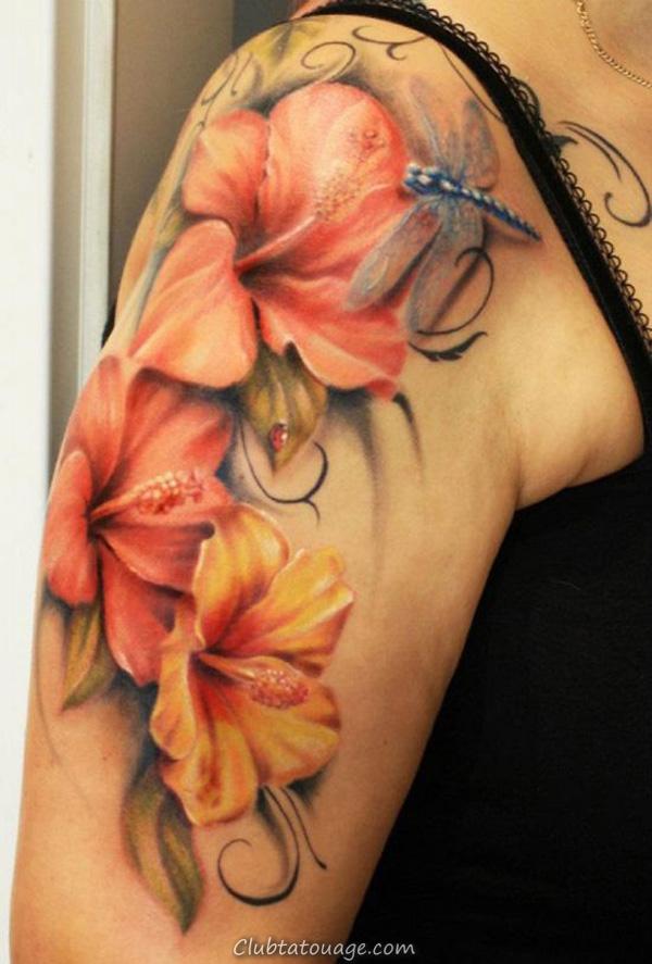 Dragonfly Fleurs Tattoo