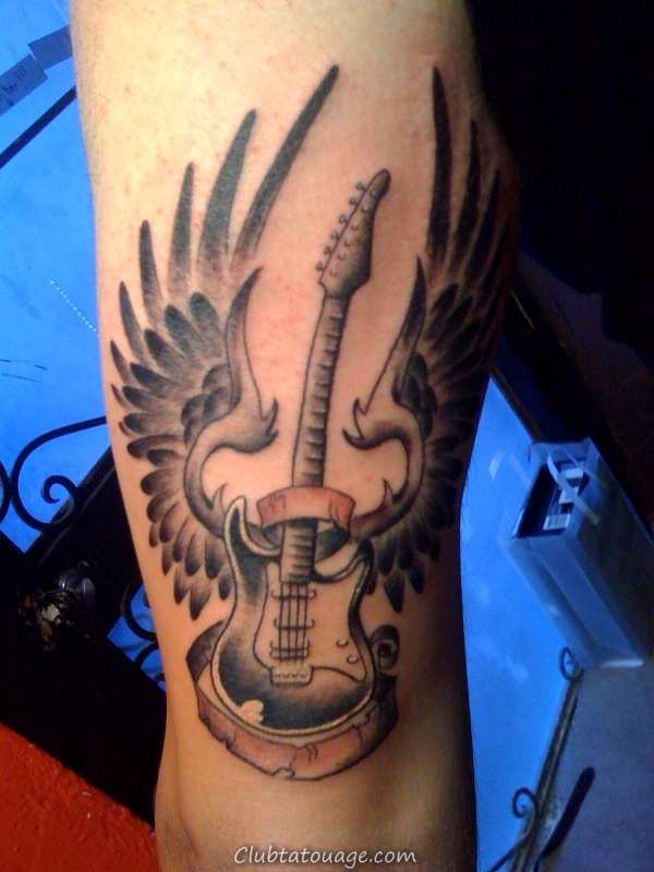 Guitar With Wings Tattoo
