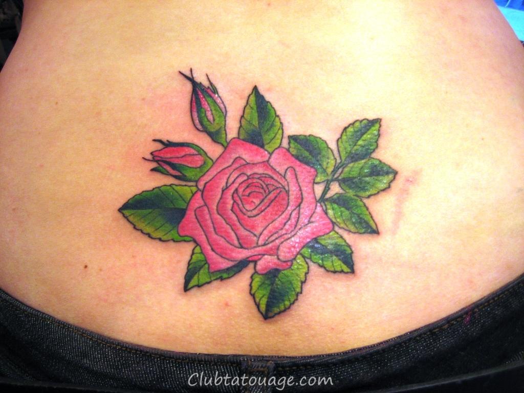 Basse-Back-Rose-Tattoos-Pour-Femmes