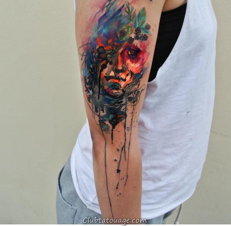 Creative Aquarelle Tatouages manches