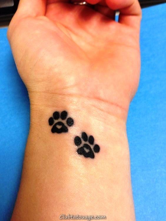 tatouages de coeur d'impression de patte _