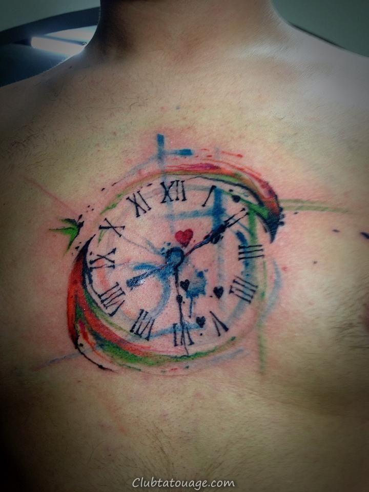 Aquarelle Horloge Tattoo taille complète wp-image-3620