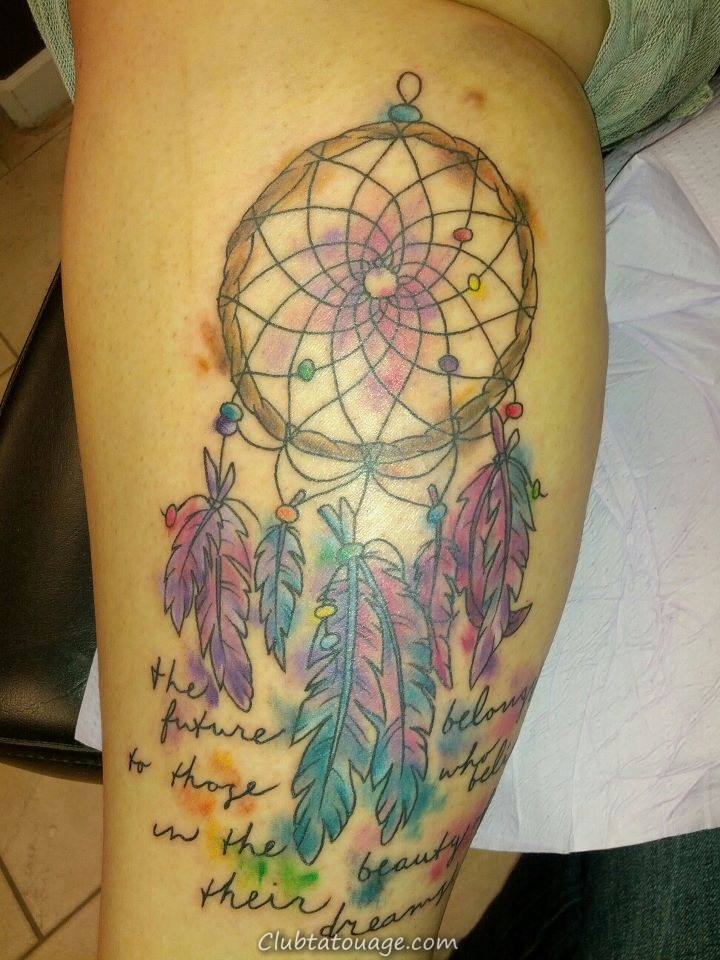 Aquarelle Dreamcatcher Tattoo
