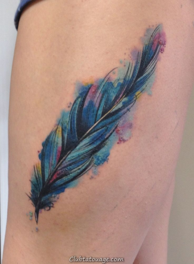 conception Tattoo Feather Aquarelle