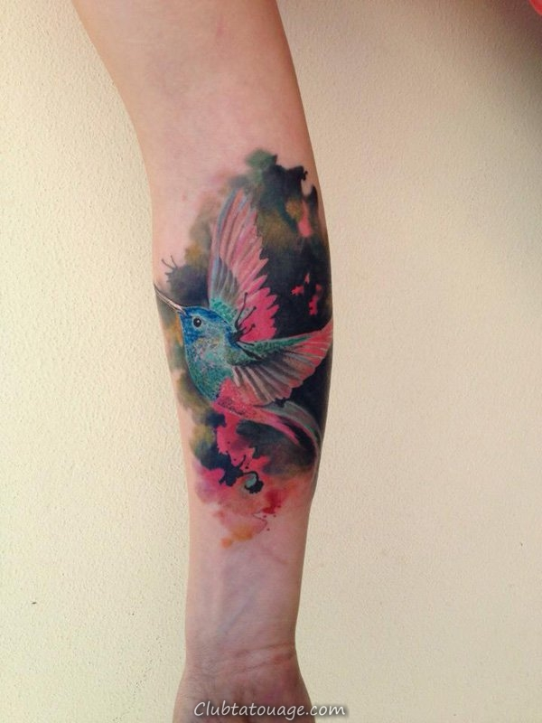 Aquarelle Hummingbird Tattoo design
