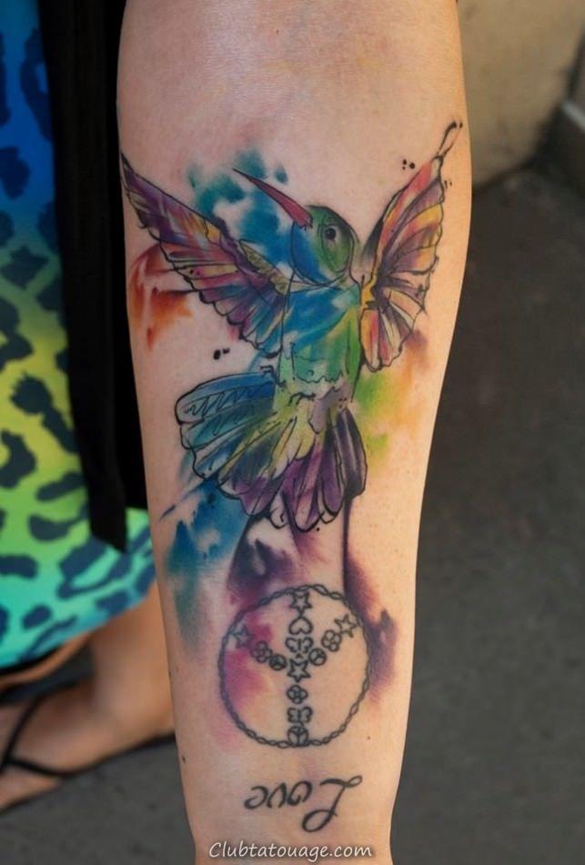 Aquarelle Signe de paix Tatouages 