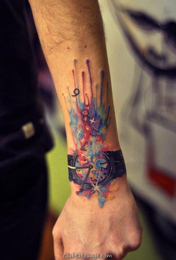 Aquarelle lion tatouage sur