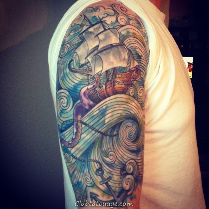 Aquarelle manches tatouages 3d 736
