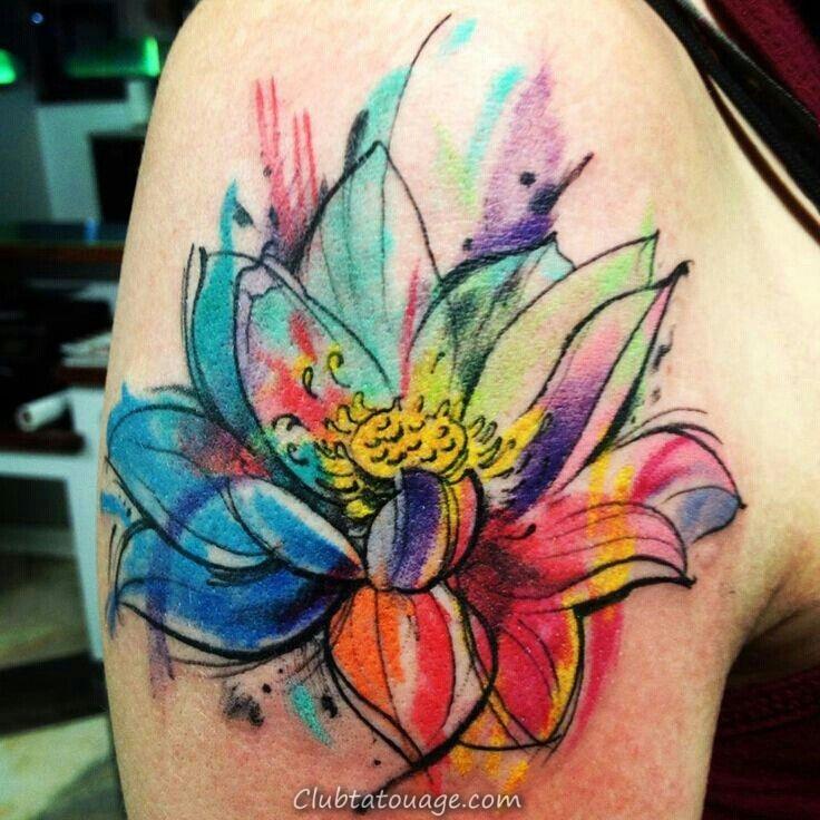 Tattoo Aquarelle Fleur exceptionnelle Designs