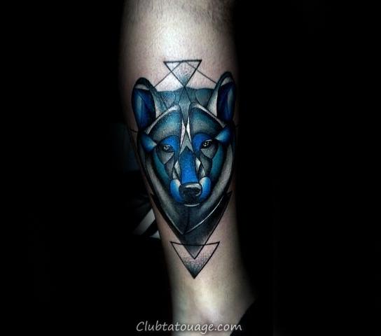 Résumé Bleu Encre géométriques Loup inférieure de la jambe Hommes Tattoos