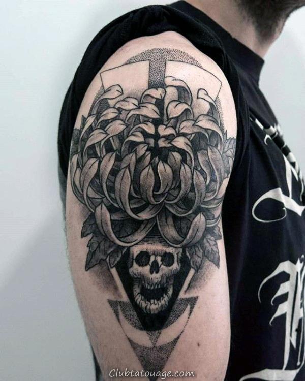 Résumé fleur de chrysanthème Dotwork Tattoo Le Mans Bras Avec Skull