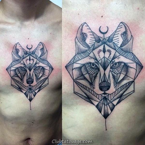 géométrique abstrait loup mâle poitrine Tatouages 