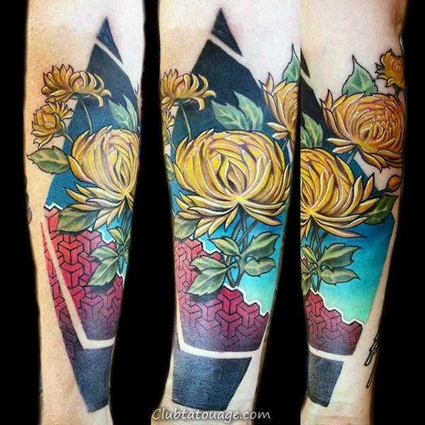 Résumé Guys Chrysanthemum géométrique tatouage sur Inner Forearm