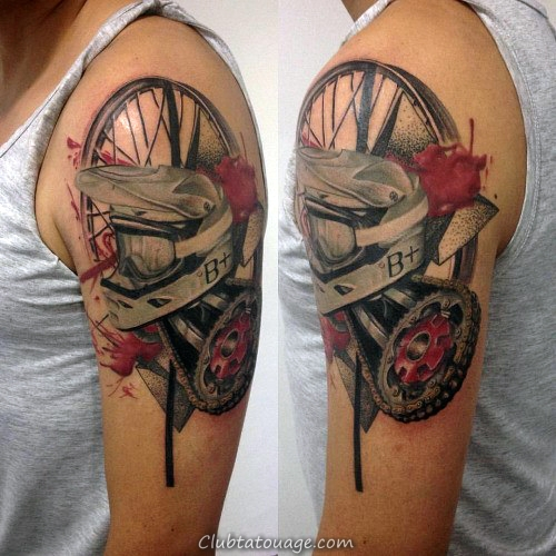 Motocross Themed Tattoo Arm Guys Abstrtact Avec Aquarelle Design