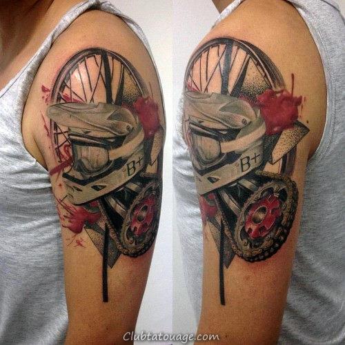 Motocross Themed Tattoo Arm Guys Abstrtact Avec Aquarelle Design