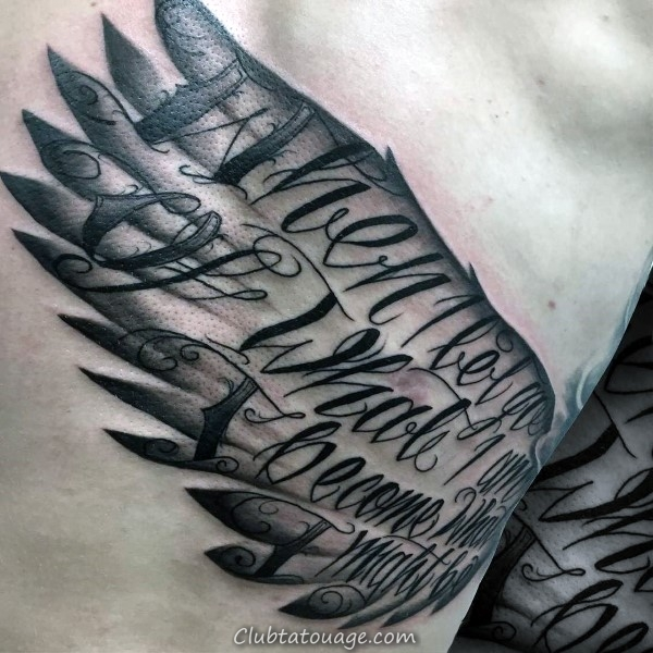 Incroyable Guys Script Ange Aile Cage thoracique Side Tattoos