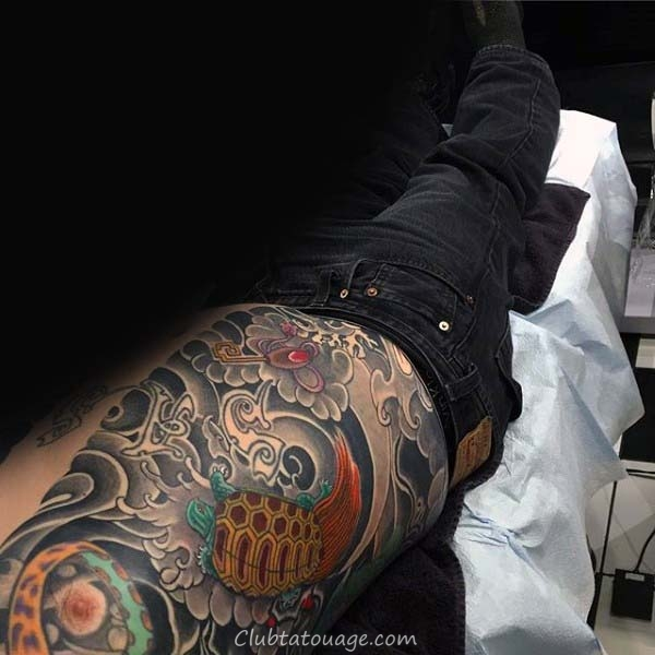 Amazing Tortue Aquarelle Tattoo Sur Mans Leg Calf