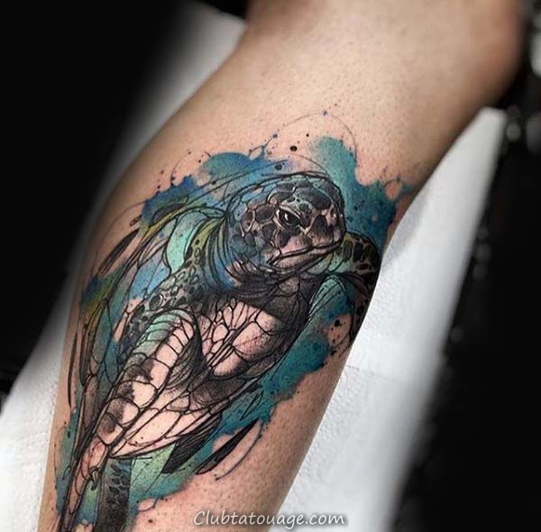 impressionnant tortue aquarelle Homme Arm Tattoos