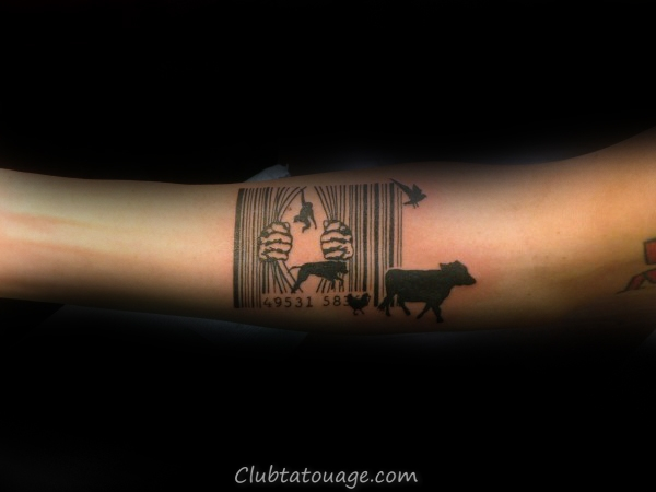 Animaux Échapper Zoo Barcode Mens Creative Forearm Tattoo