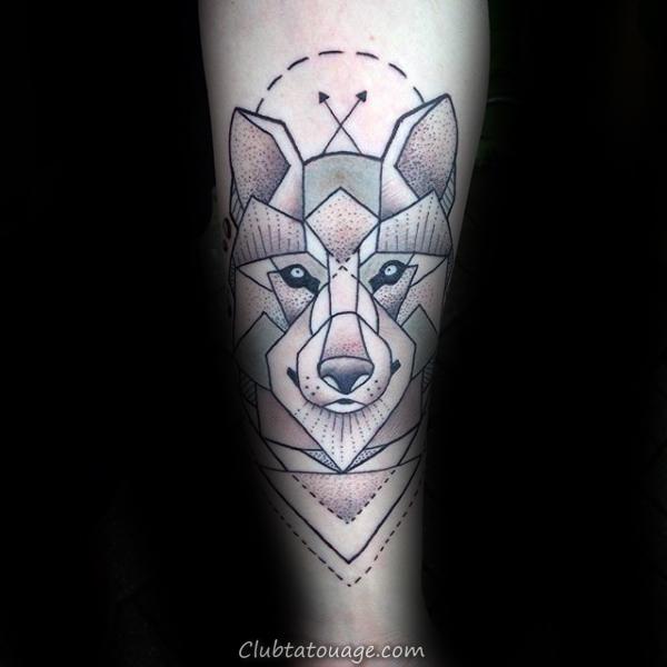 Arroows géométriques Loup Homme Forearm Tattoo Ideas