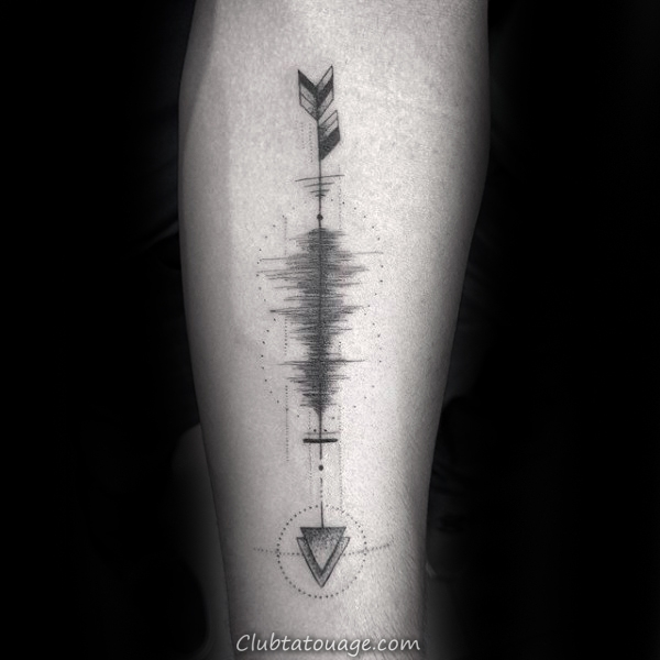 Arrow Soundwave Hommes Inner Forearm Design Tattoo Inspiration
