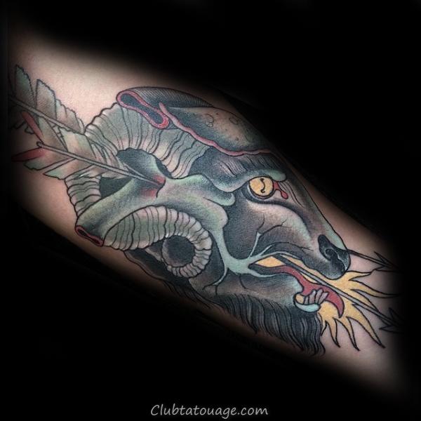 Flèche Grâce Tattoo Ram Mens Neo Traditional Forearm