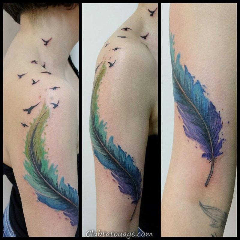 Les Meilleurs Conceptions Et Idees De Tatouage Aquarelle Feather